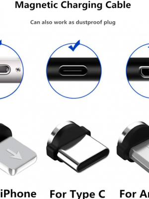 Cable USB Magnético – Tipo C + Micro USB + iPhone